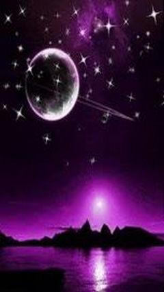 Purple Sky With Stars & Saturn