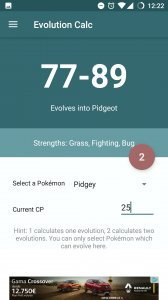 Evolution Calc for Pokemon GO