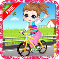 The little girl learn bicycle