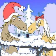 Christmas Caroling Horses