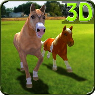 Pony Horses Green Hill Sim 3D