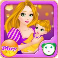 Long-Hair Mom Care Baby