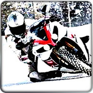 Super Moto Bike Rider On Snow