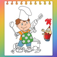 Kitchen Cooking Coloring Pages -Kids Coloring Book