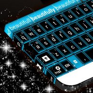Glowing Blue Neon Keyboard