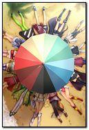 Beach umbrellas and cartoon girls