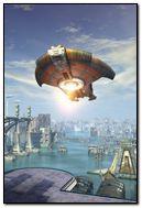 Fantasy city architecture ufo
