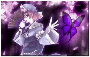 Anime Girl Purple Cherry Trees