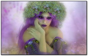Hada púrpura con corona verde