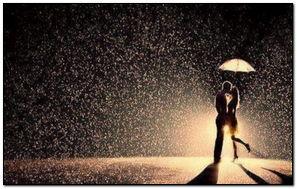 Couple Kiss Love Night Rain