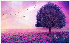 Purple-flowers-field-art-tree