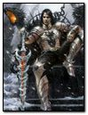 Fantasy Man Warrior King sitting on Throne with Sword