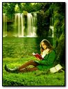 Girl is reading Book & Waterfall