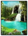 Fantasy Nature Waterfall & River with Butterfly