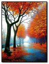 Autumn Trees In Fog On Road