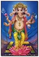 Lord Ganesha Standing On Lotus