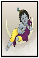 Krishna Sitting On Moon