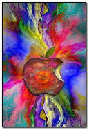 Spilled Paint With Heart Apple
