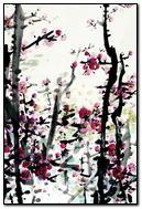 Pink Flower Ink Painting Art