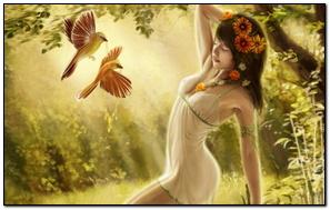 Fantasy Girl Với Chim Trong Rừng