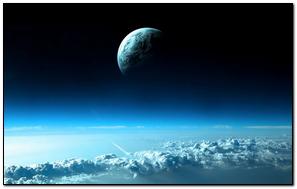 Clouds Below Planet Earth In Space