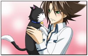 女孩年轻猫布鲁内特拥抱