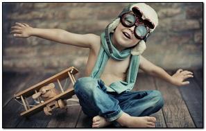 Boy Toy Airplane Helmet Glasses