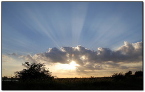 Ray Of Sunlight With Clouds