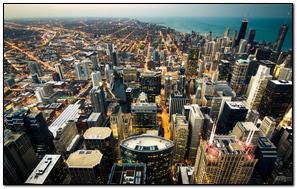 Ánh sáng thành phố Chicago Skyline