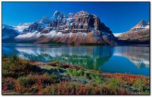 Mountains Grass Sky Reflection Lake
