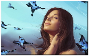 Art Girl Butterflies Sky Dreams
