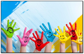 Hands Paint Children Happiness Positive Smile