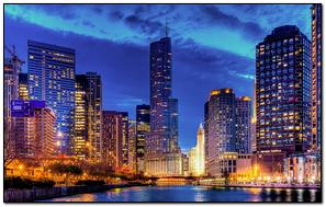 Stritervill Chicago Illinois Đêm thành phố Usa