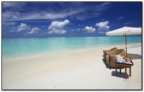 Maldives Ocean Beach Sand Water Clouds Umbrella