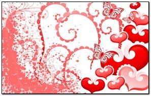 Hearts Butterflies Background