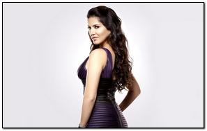 Sunny Leone In Stripe Dress