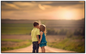 Children Road Kiss Tenderness