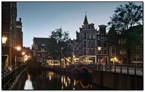 Street Amsterdam Holland Channel Evening