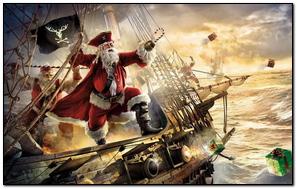 Santa Claus Pirate Ship Gifts Sea Storm