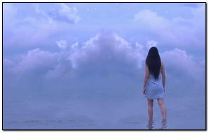 Girl Sea Horizon Sky Clouds