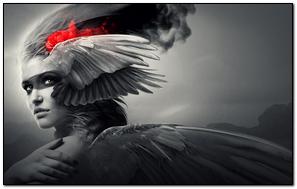 Girl Wings Angel Black White