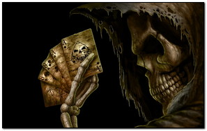 Skull Holding Cards