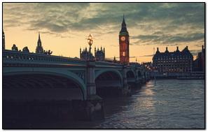 Night London Bridge River Clock