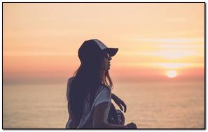Girl Skate Sea Sunset Cap