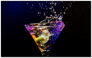 Cocktail Olive Glass Spray Black Background