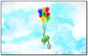 Android System Robot Clouds Sky Balloons