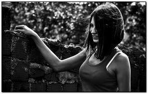 Girl Eyes Brunette Street Black And White