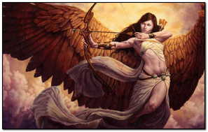 Fantasy Girl Angel Warrior Is Aiming