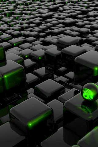 3D Abstract Green Black