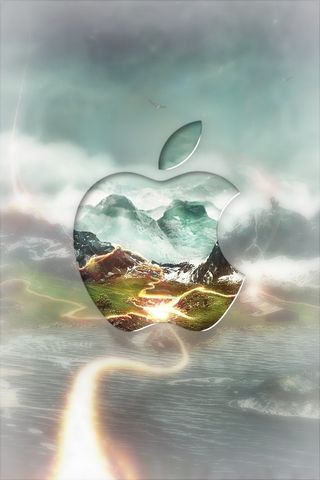 Apple With Mountain